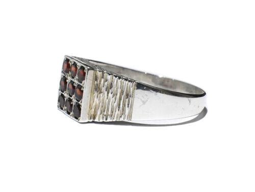 Details about  /Garnet Ring Signet Ring Men/'s Solid Sterling Silver Engagement Ring