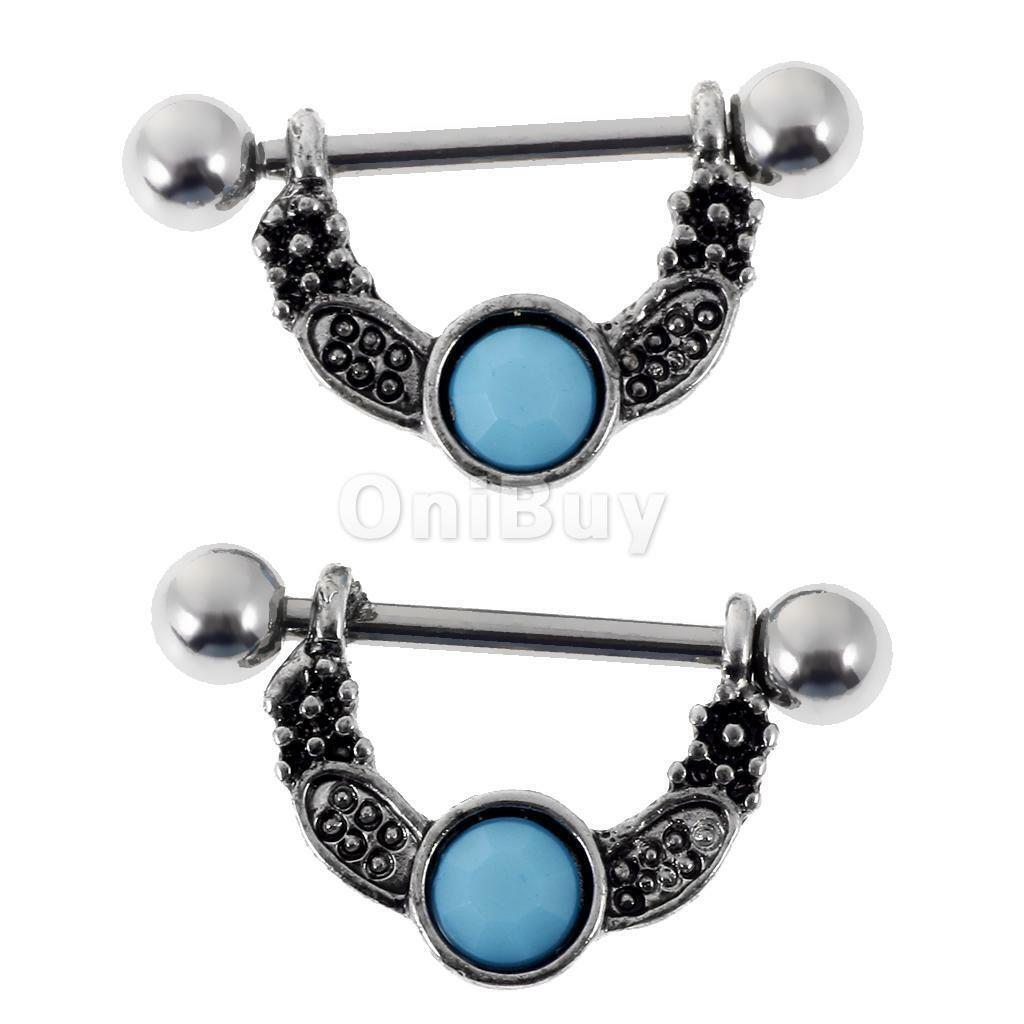 Jewseen 14g Septum Clicker Hoop Turquoise Beads Filigree Septum Rings Nose Rings Piercing Jewelry