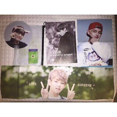 BTS V Taehyung Fansite Slogan Banner Photobook Hand Fan Poster Sticker Concert