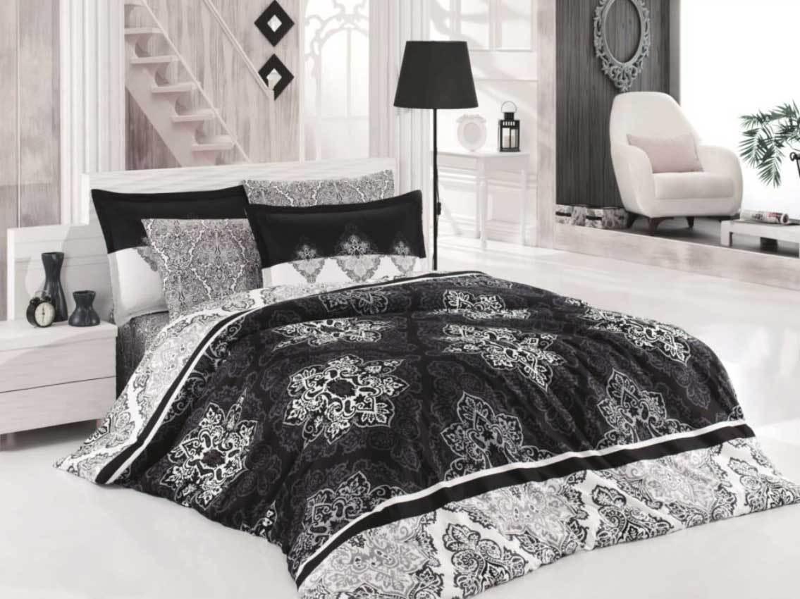 Bettwäsche 135x200 cm Bettgarnitur Bettbezug Baumwolle Kissen 6 tlg RAPSODI GRAU
