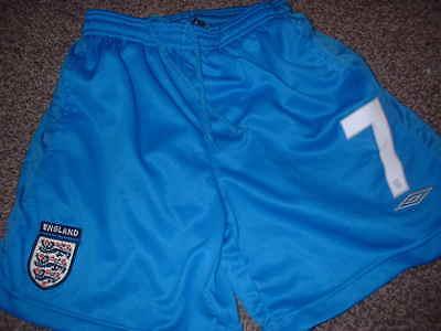 England Shorts Umbro DAVID BECKHAM Boys Youth Large Football Soccer Shirt 152cm