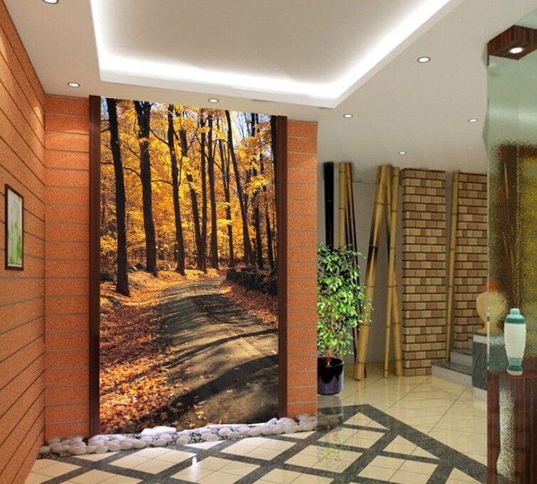 3D Herbstwaldweg 114 Fototapeten Wandbild Fototapete Bild Tapete Familie Kinder