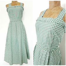 Vintage 50s Fast Color Pinup Dress Size Medium Gingham Check Rockabilly Cotton