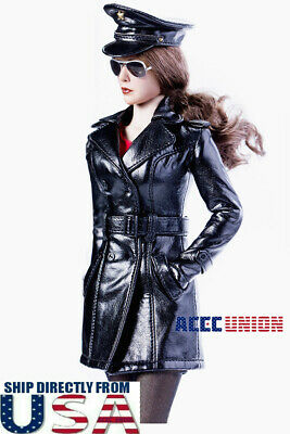 """1//6 Leather Trench Coat Dress Set with Shoes For 12/"""" PHICEN TBL Hot Toys Female"""