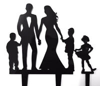 Family Bride Groom 2 Boys 1 Girl Acrylic Wedding Cake Topper Sign Decoration Set