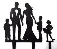 Family Bride Groom 2 Boys 1 Girl Acrylic Wedding Cake Topper Sign Decoration Set