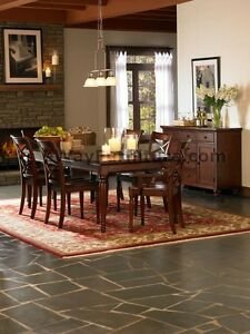 7 Pc. BROWN CHERRY FORMAL DINING ROOM TABLE FURNITURE