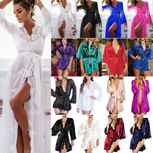Women-Lace-Babydoll-Satin-Kimono-Wedding-Bride-Bridesmaid-Dressing-Gown-Bathrobe
