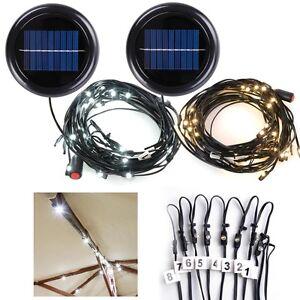 40 LED Solar String Light Fit 8-Rib 8ft 9ft Wooden Outdoor Patio Umbrella