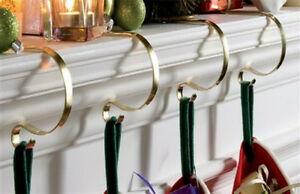 SET OF 4 MANTLE CLIPS FIREPLACE CHRISTMAS STOCKING HOLDERS HANGERS ...