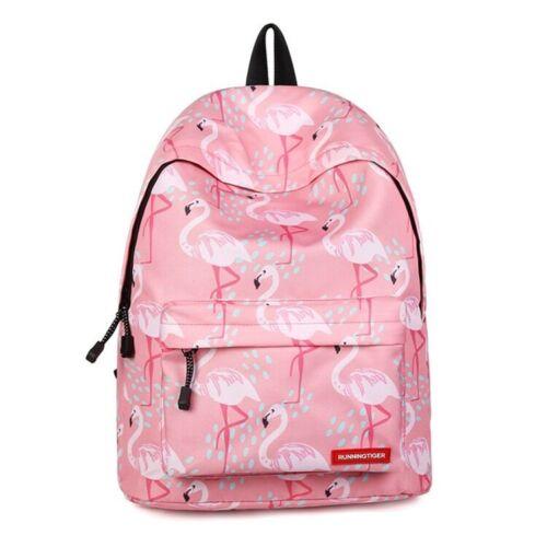 UK Girl Flamingo Backpack Kids College School Bag Rucksack Travel Laptop Satchel