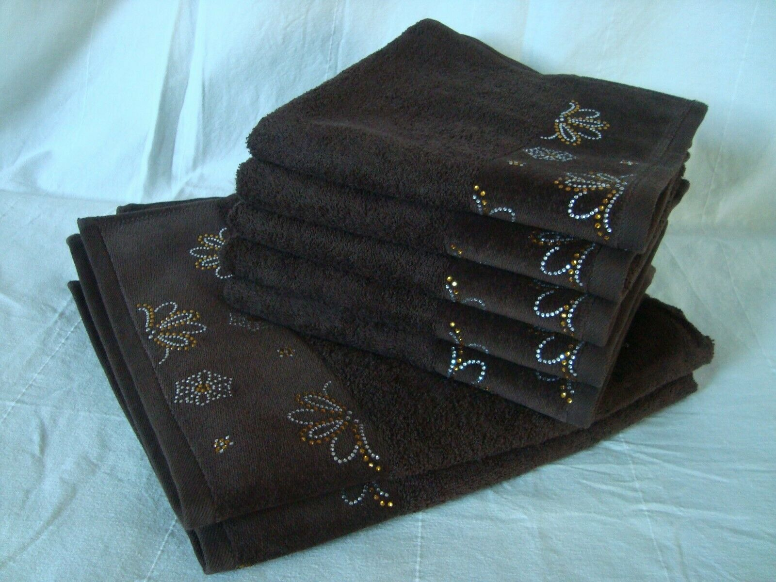 Bling Bling Frottier-Set  Schoko   - 5 5 5 Handtücher und 2 Duschtücher mit Glitzer b9e3c9