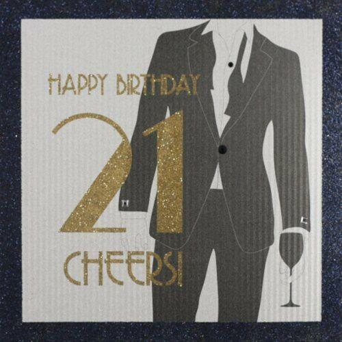 "Five Dollar Shake Male /""Happy Birthday 21 Cheers /"" Handmade Birthday Card"