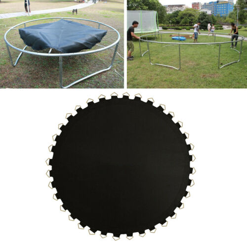 8ft Trampoline Mat Replacement Black Round Frame with 48Pcs V-Rings 5.5in Spring
