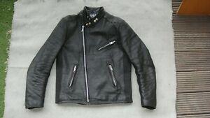 Vintage-Belstaff-Biker-Veste-En-Cuir-Moto-argent-zips-noir-Taille-M-40-42