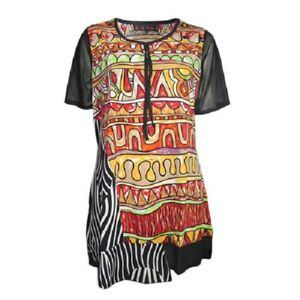 Tunic-Top-by-SUN-ROSE-Plus-Size-14-16-18-20-22-24-Black-Red-Orange-Green-Print