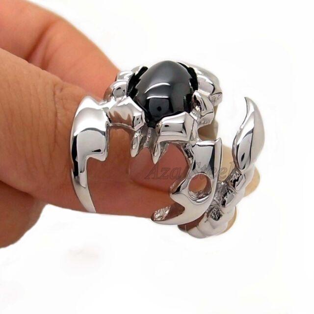 Men's Silver Scorpion King Black Cubic Zirconia 316L Stainless Steel Ring