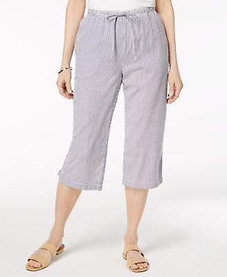 Karen Scott Cotton Seersucker Cropped Pant Intrepid Blue Striped/_/_/_/_/_/_ B1B1