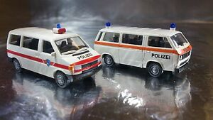 Miniatur-Modell-2413-VW-T3-and-T4-Twin-Set-Police-Polizei-HO-Scale-1-87