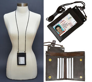 Genuine-Leather-ID-Badge-Holder-Lanyard-Credit-Card-Zip-Bifold-Holder-Neck-Strap