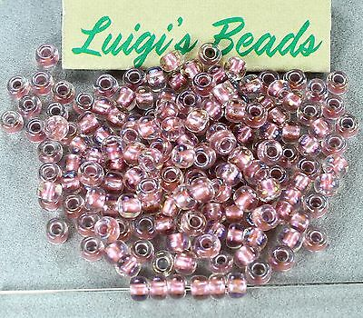 6/0 Round E TOHO Japanese Glass Seed Beads #267-Crystal/Rose Gold Lined 15g