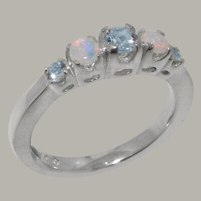 Natural Aquamarine pear shape Five stones band Ring Sterling Silver