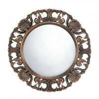 Distressed Bronze Shell Shabby Vintage Carved Wood Bathroom Entry Wall Mirror