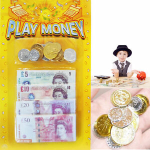 Details about Fake Money Kids Play Notes Coin Novelty Prop Currency Pretend  Role Play Fun Shop