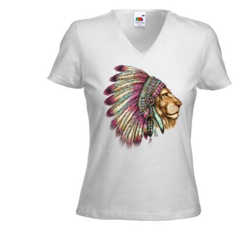 Native Damen T-Shirt Lion Chief weiß Indianer Löwe Biker Cowboy