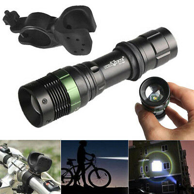Zoomable Waterproof LED Bike Front Flashlight Bicycle Headlight 360°Mount Clip