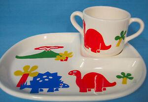 Children-039-s-Plate-amp-2-Handle-Cup-Porcelain-Set-Dinosaurs-Design-Red-Blue