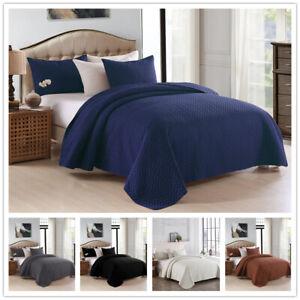 Embossed Reversible Bedspread Coverlet Quilt Set Bedding Cover Queen King
