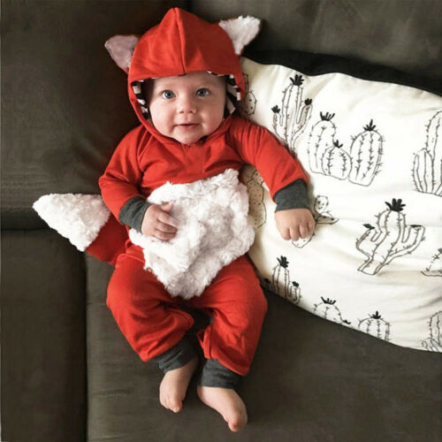 Lovely Newborn Baby Kid Girl Boy 3D Cartoon Fox Hooded Romper Jumpsuit Outfits E