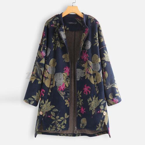 Mode Femme Floral Simple Loose Zip Up Manche Longue Coton Manteau Veste Plus
