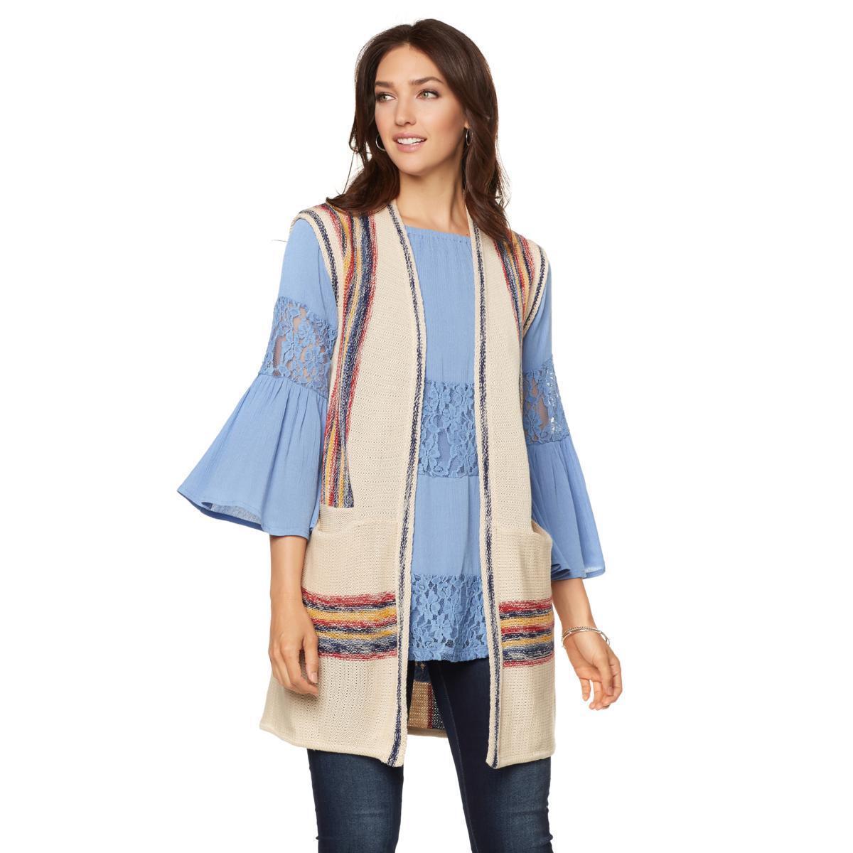 Curations Caravan Sweater Knit Vest in Oatmeal, XS (HSN )