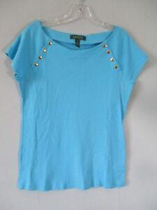Lauren-Ralph-Lauren-Women-039-s-Size-M-100-Cotton-Blue-Short-Sleeve-T-Shirt-Blouse