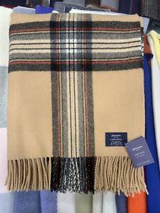 100% Lambswool Throw | Johnstons Of Elgin | Camel Stewart | Made in Scotland