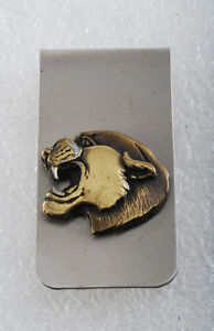 Vintage Collectible Silver Tone Metal w Gold Cougar Head Money Clip NOS