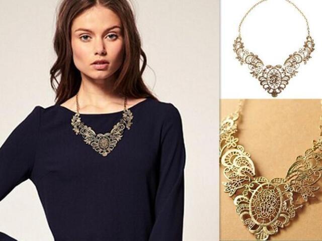 Vintage Gold Style Flower Hollow Statement Bib Choker Chain Pendant Necklace TIA
