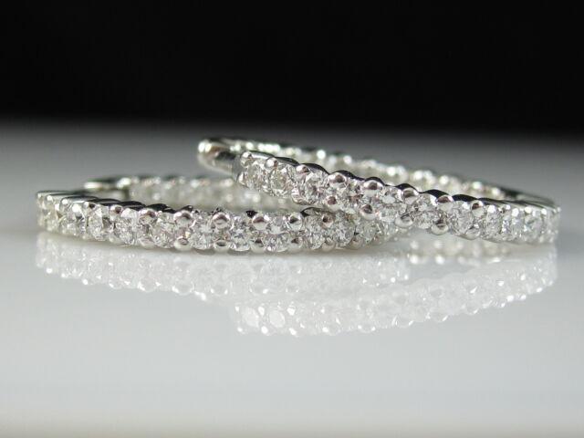 Roberto Coin Diamond Hoop Earring 1.00ctw 18K White Inside Outside X Small $3100