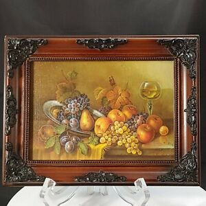 Schmetterling Fine Art Print Still Life Fruit  Ornate Antique-Style Frame 9x7