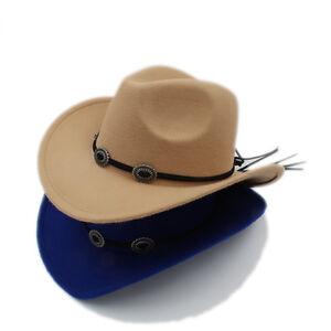Kids Child Boys Girls Panama Hats Cowboy Western Caps Wide Brim ... 9f637da4e7f3