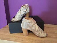 Women's Dune Black 072 Jakie Nude Metallic Peeptoe Heel Bootie. Uk Size 3.