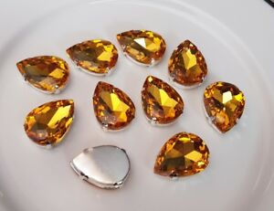 10-pieces-Amber-Pear-Shape-Rhinestone-Jewel-Gem-with-claw-Sew-on-Free-post