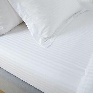 100-EGYPTIAN-COTTON-SATEEN-300TC-WHITE-SATIN-STRIPE-FITTED-SHEET-HOTEL-QUALITY