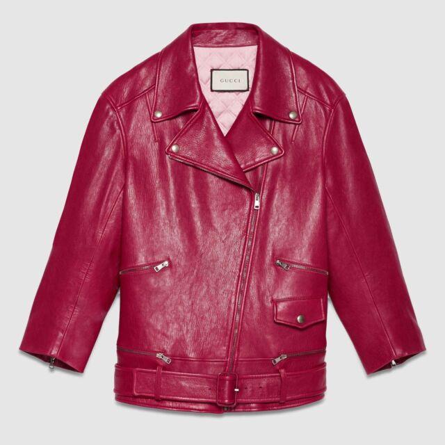 b0ae7672e GUCCI Leather Biker Jacket in Cerise Red Size IT 36 — MSRP $4,900 | eBay