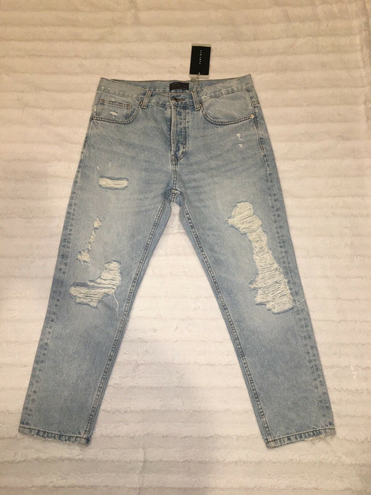 Zara Man Distressed Ripped Jeans ZMDC Goods Slim Fit Button Fly Size 31 NWT