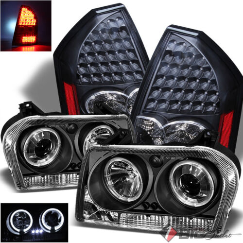 LED Tail Lights For 05-07 300 Black Halo Projector Headlights w//Daytime LED