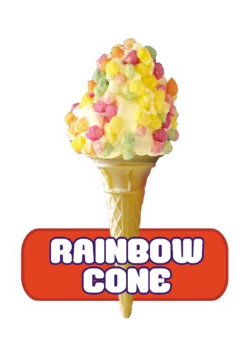 RED LABEL RAINBOW CONE R137 ICE CREAM VAN STICKER