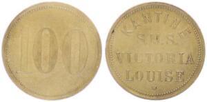 100 Pf. Token Coin Canteen SMS Victoria Louise 1896-1922 Germany/Empire